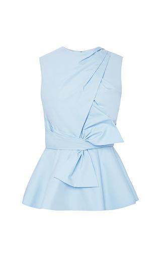 Medium prabal gurung blue draped bow cotton peplum top