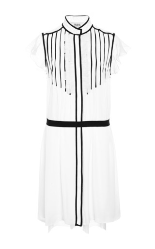 Medium prabal gurung white sleeveless shift dress with contrast piped pleats gros grain self belt