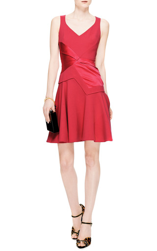 Flared Crepe And Draped Satin V Neck Dress by PRABAL GURUNG Now Available on Moda Operandi