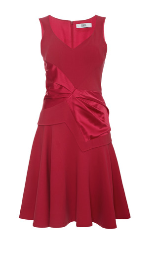 Medium prabal gurung red flared crepe and draped satin v neck dress