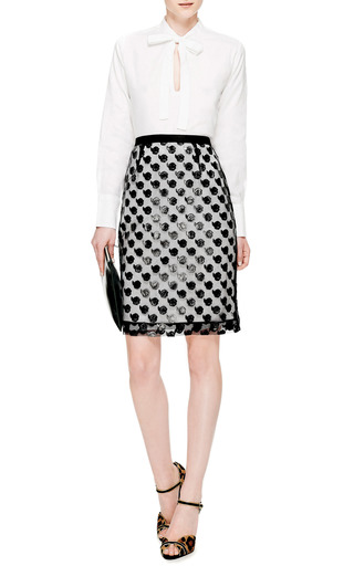 Point D'esprit Appliquéd Pencil Skirt by PRABAL GURUNG Now Available on Moda Operandi