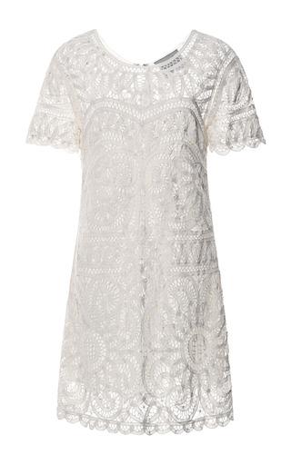 Medium sea off white battenburg lace short sleeve dress