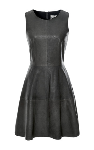Medium sea black seamed leather tank dress