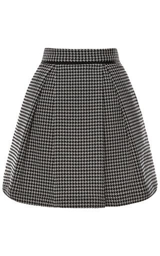Medium sea off white needlepoint houndstooth pleated skirt