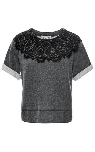 Medium sea dark grey short sleeve lace combo sweatshirt