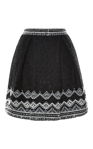 Medium sea black embroidered lace two pleat skirt