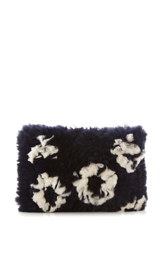 Medium thakoon blue rabbit fur clutch