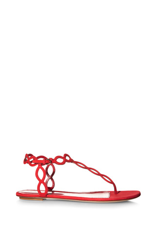 Medium sergio rossi red mermaid suede sandals