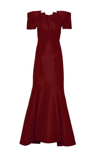 Medium zac posen burgundy silk faille gown