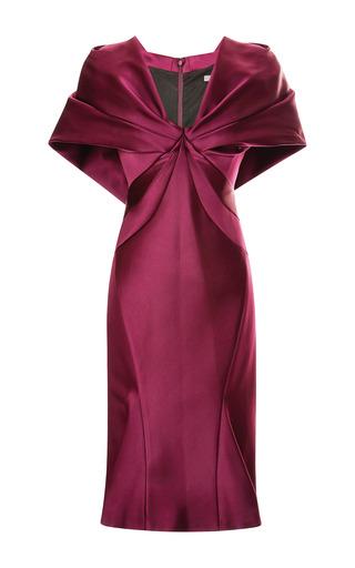 Medium zac posen burgundy duchess v neck dress