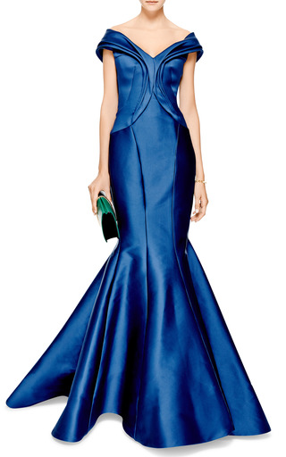 Draped Duchesse Satin Gown by ZAC POSEN Now Available on Moda Operandi