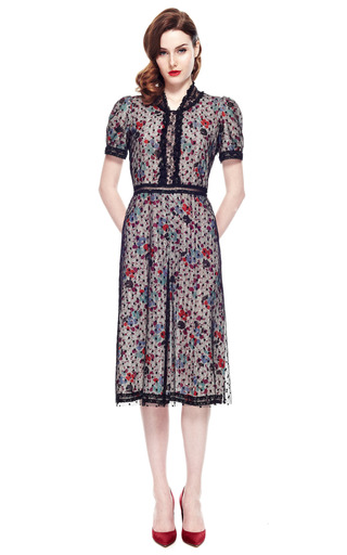 Anna Sui Chantilly Lace Floral Dress by VINTAGE VANGUARD for Preorder on Moda Operandi