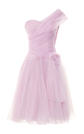 Medium vintage vanguard pink marchesa one shoulder tulle party dress