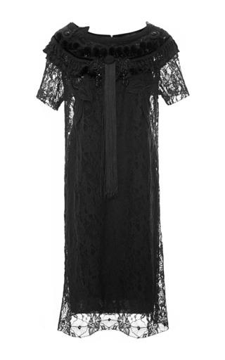 Medium vintage vanguard black marc jacobs lace t shirt dress with passementerie trim