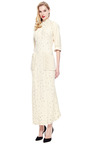 Olivier Theyskens Embellished Crepe Dress With Flannel Sleeves by VINTAGE VANGUARD for Preorder on Moda Operandi