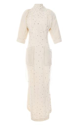 Medium vintage vanguard white olivier theyskens embellished crepe dress with flannel sleeves