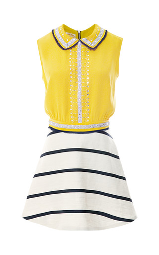 Suno Embroidered Cinched Waist Mini Dress by VINTAGE VANGUARD for Preorder on Moda Operandi