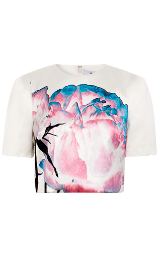 Medium prabal gurung floral painted floral cropped blouse