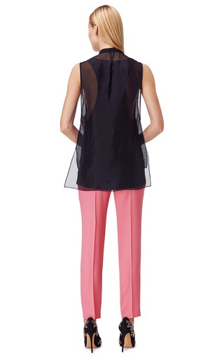 Sleeveless Blouse With Pleated Organza Embroidery by PRABAL GURUNG for Preorder on Moda Operandi