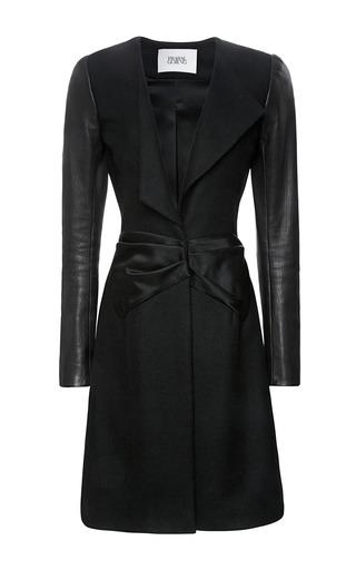 Medium prabal gurung black wool a line coat with leather sleeves