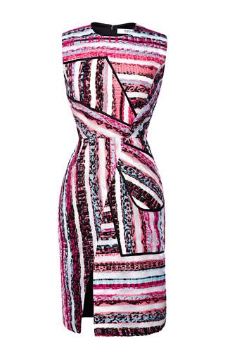 Medium prabal gurung pink striped multicolor tweed sheath dress