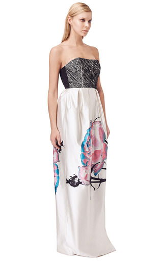 Embroidered Bodice Painted Floral Gown by PRABAL GURUNG for Preorder on Moda Operandi