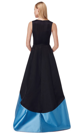 Doubleface Satin V Neck Gown by PRABAL GURUNG for Preorder on Moda Operandi