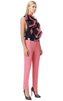 Coral Cropped Tapered Leg Pants by PRABAL GURUNG Now Available on Moda Operandi
