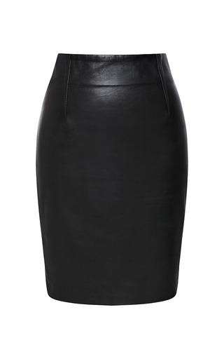 Medium prabal gurung black lambskin leather mini skirt