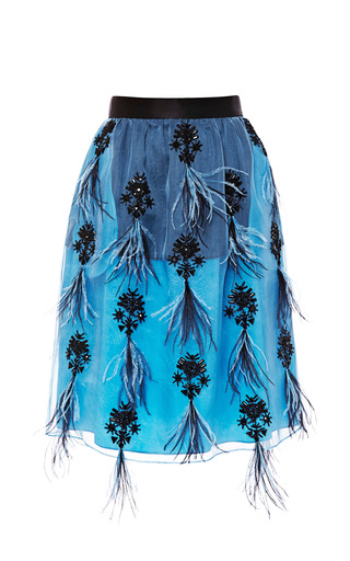 Embroidered Gathered Skirt by PRABAL GURUNG Now Available on Moda Operandi