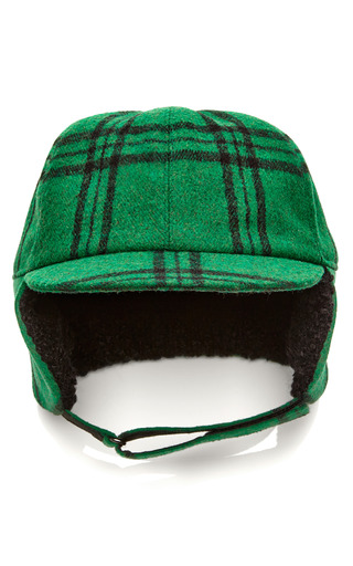 Medium tibi green evergreen plaid trapper cap