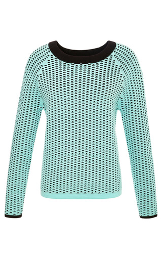 Medium tibi multi double layer open hole cropped pullover