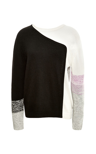 Melange Fine Gauge Crewneck Colorblock Sweatshirt by TIBI for Preorder on Moda Operandi