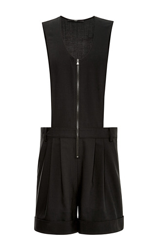 Medium tibi black tropical wool sleeveless jumpsuit