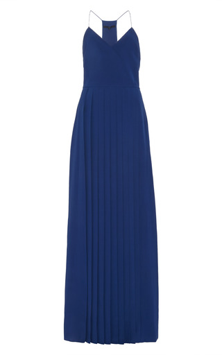 Medium tibi blue pleated silk maxi dress