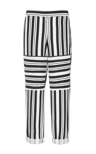 Medium tibi multi woven striped cropped pants