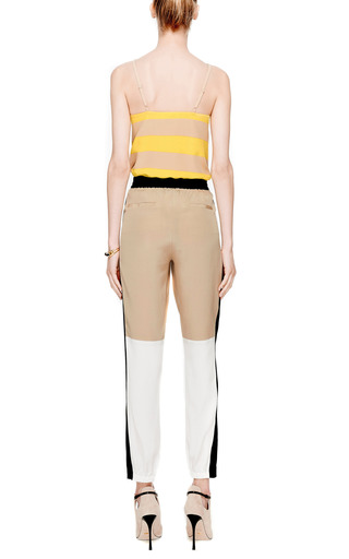 Striped V Neck Silk Tank by TIBI Now Available on Moda Operandi