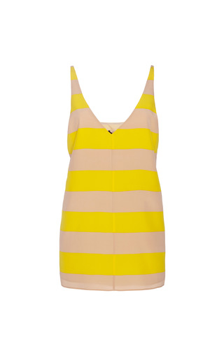 Medium tibi yellow striped v neck silk tank