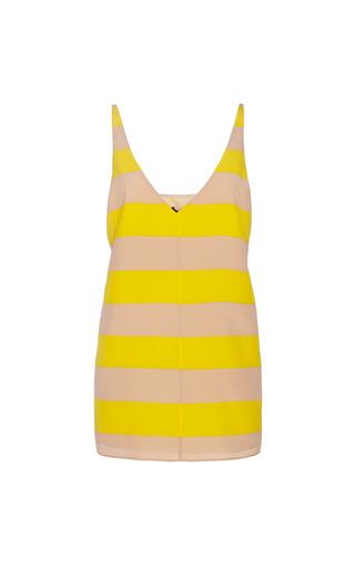 Medium tibi yellow striped v neck silk tank