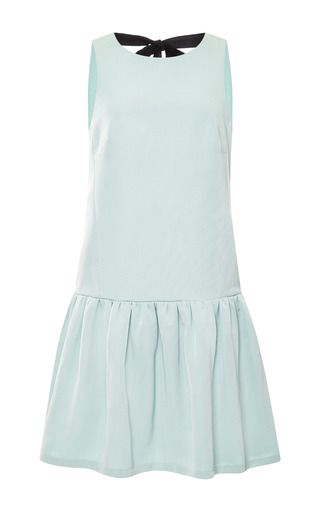 Medium tibi green katia faille sleevless flirty dress