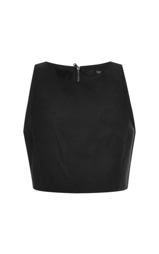 Medium tibi black katia faille cropped top