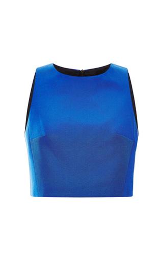 Medium tibi blue katia faille cropped top 2