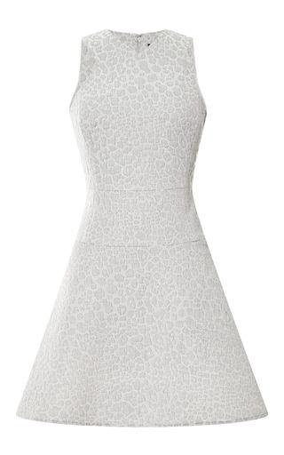 Medium tibi dark grey rime jacquard strappy flirty dress