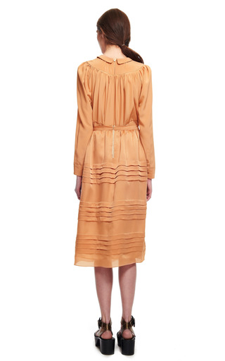 Charmeuse Satin Tiered Pleat Skirt by ROCHAS for Preorder on Moda Operandi