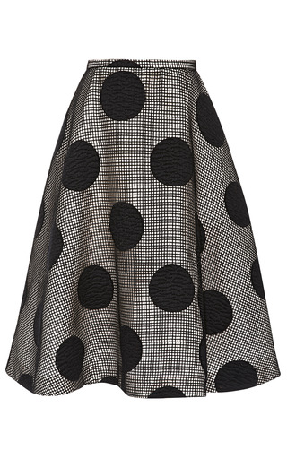 Medium rochas black embroidered wool polka dot skirt
