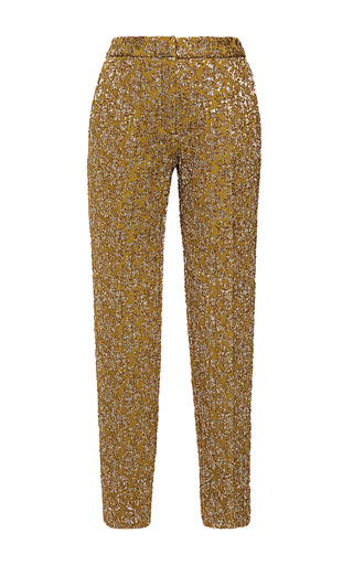 Medium rochas olive stretch floral brocade trousers