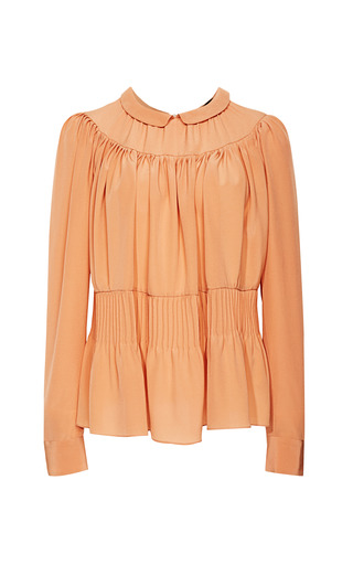 Medium rochas brown crepe de chine pintuck blouse