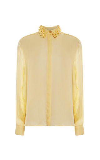 Medium rochas yellow satin charmeuse collared blouse