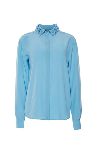 Medium rochas blue crepe de chine collared blouse