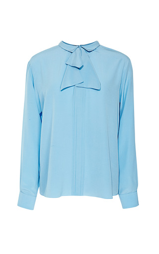 Medium rochas blue crepe de chine bow neck blouse
